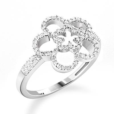 Ladies Diamond Flower Ring 0.34ct 14K Gold