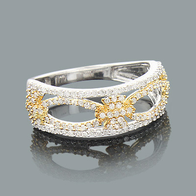 Ladies Diamond Flower Ring 0.46ct 14K Gold