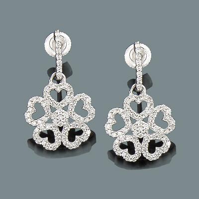 Ladies Diamond Heart Flower Earrings 0.54ct 14K Gold