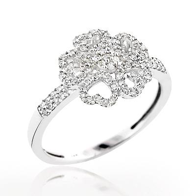 Ladies Diamond Heart Ring 0.36ct 14K Flower Jewelry