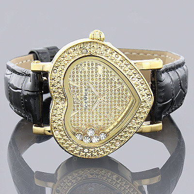 Ladies Diamond Heart Watch 0.15ct Yellow Ice Time