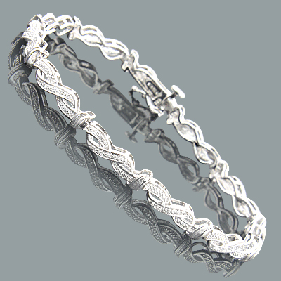 Affordable Ladies Diamond Infinity Bracelet 0.18ct Sterling Silver