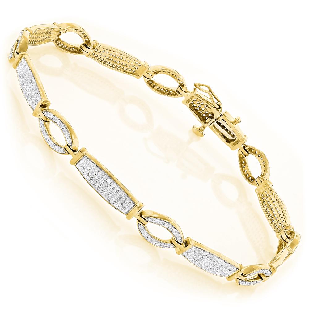 Ladies Diamond Link Bracelet in 10K Gold 1.76ct