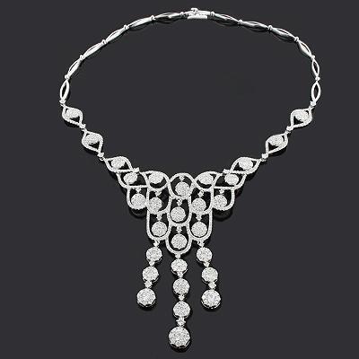 Ladies Diamond Necklaces: Designer Chandelier Necklace 11.37ct 18K Luccello