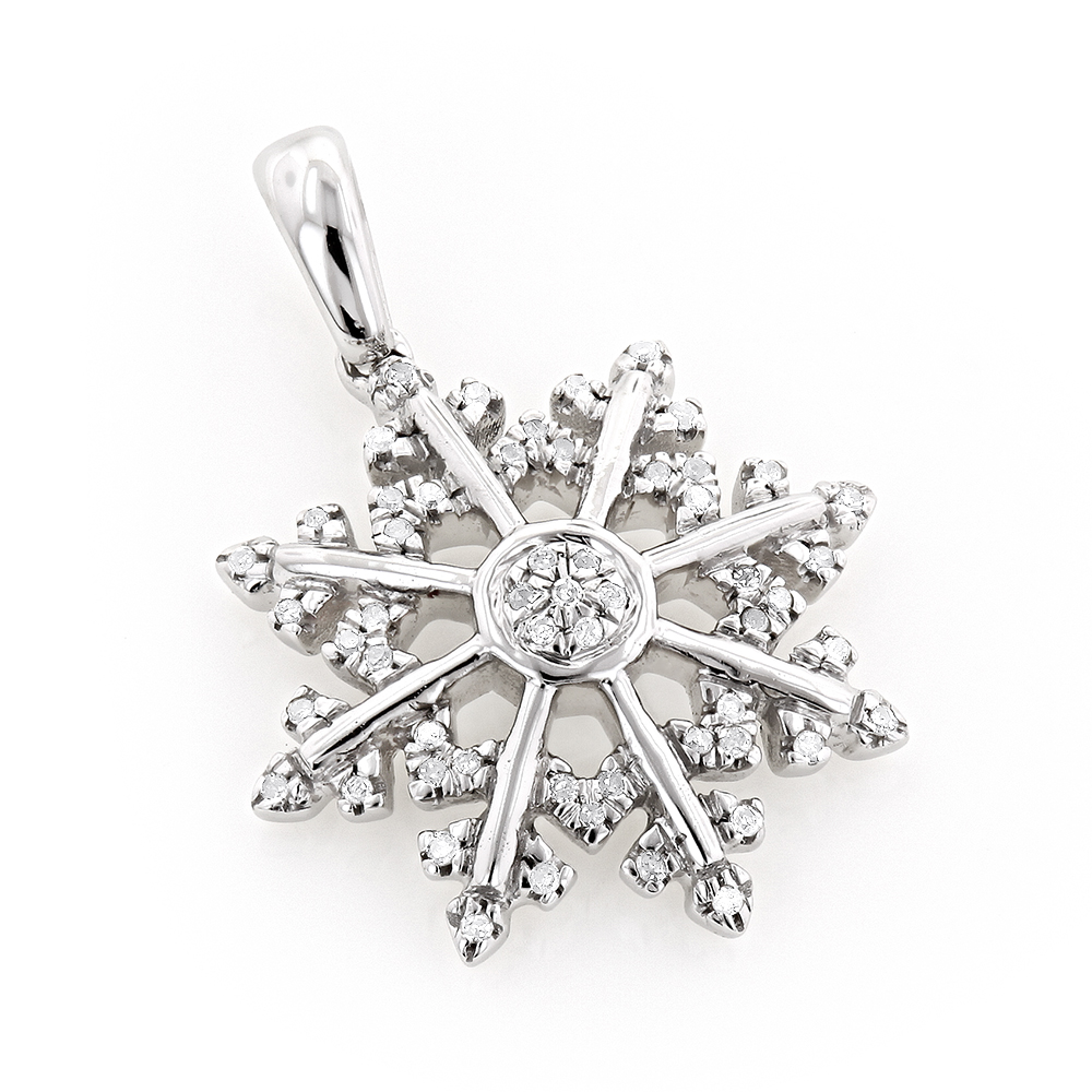 Ladies Diamond Pendants: Sparkling Snow Flake Charm 10k Gold