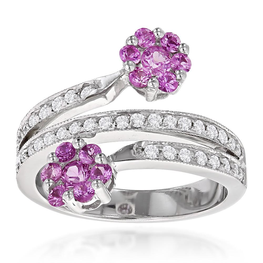 Ladies Diamond Right Hand Rings: 14K Gold Pink Topaz Flower Ring