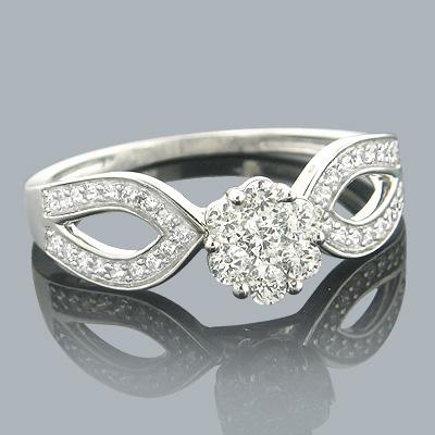 Ladies Diamond Rings 14K Cluster Diamond Ring 0.59ct