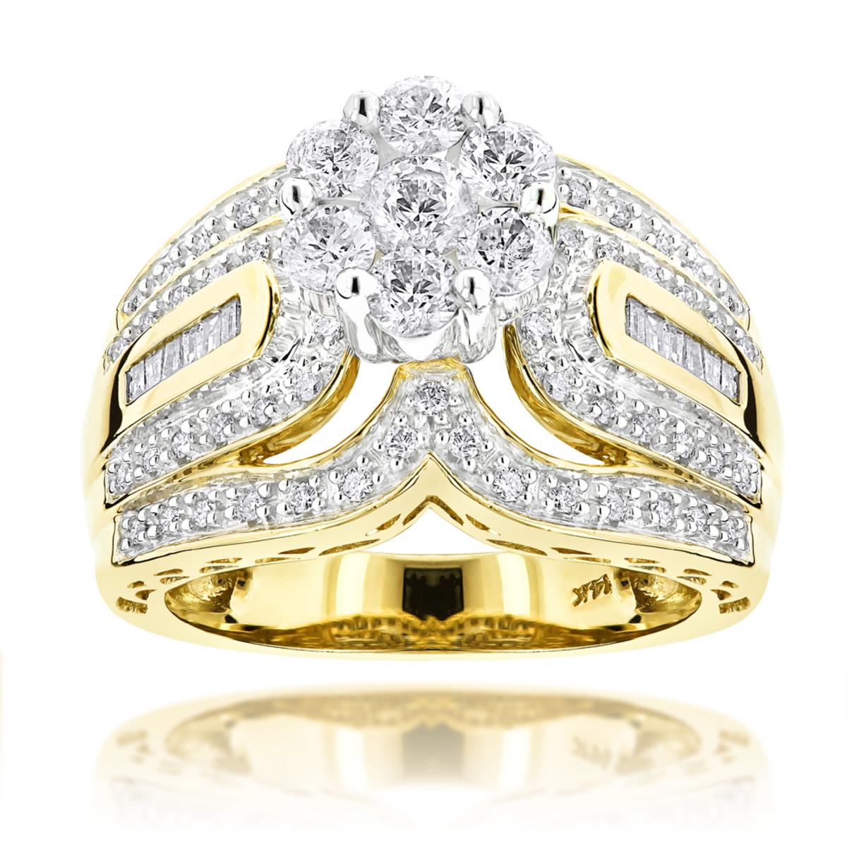 Ladies Diamond Rings 14K Cluster Diamond Ring 1.83ct