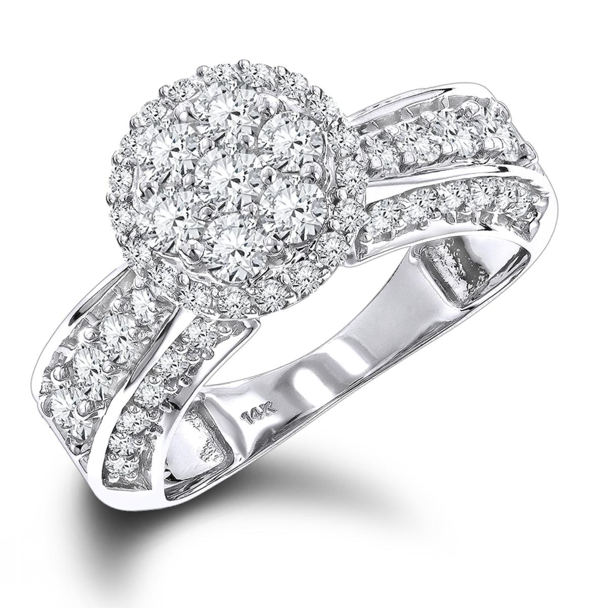 Ladies Diamond Rings 14K Gold Cluster Diamond Ring 1.6ct