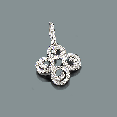 Ladies Diamond Swirl Pendant 0.26ct 14K Gold