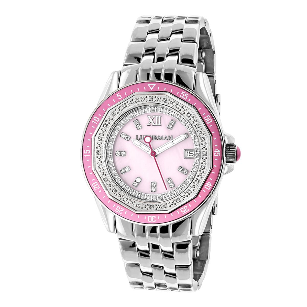 Ladies Diamond Watch 0.25ct Pink MOP Luxurman