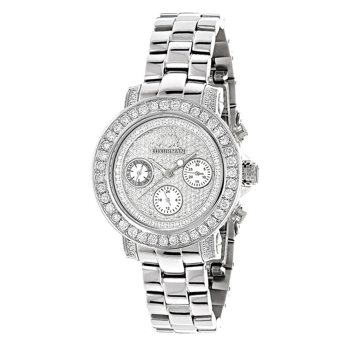 Ladies Diamond Watch 3ct Luxurman Diamond Watch