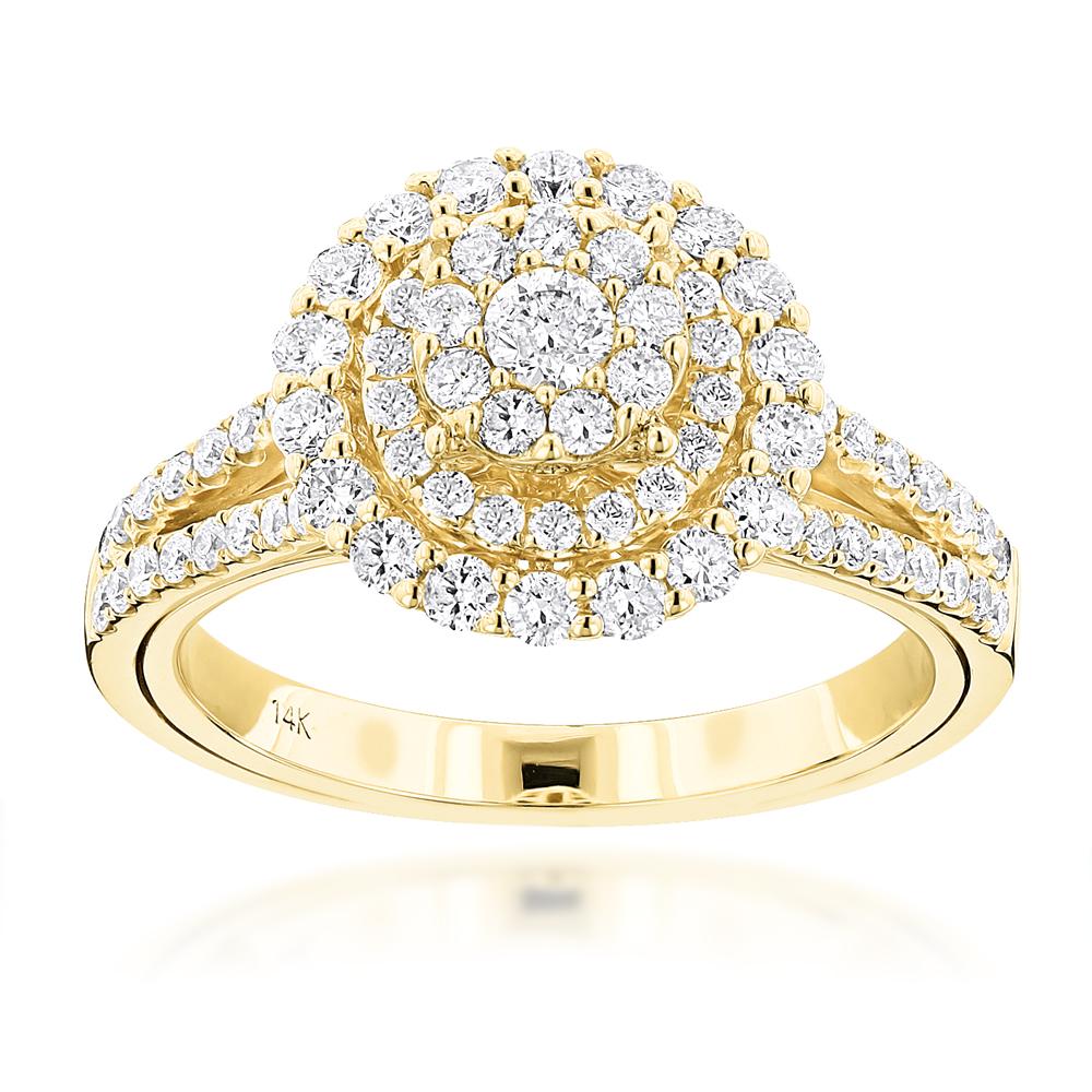 Ladies Double Circle Diamond Ring 1.21ct 14K Gold