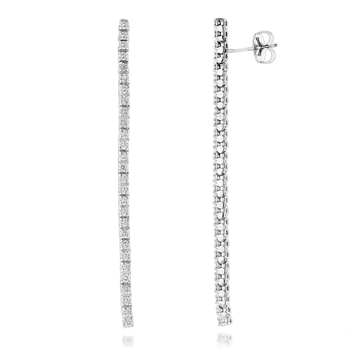 Ladies Earrings 14K Gold String Diamond Earrings 1.54ct