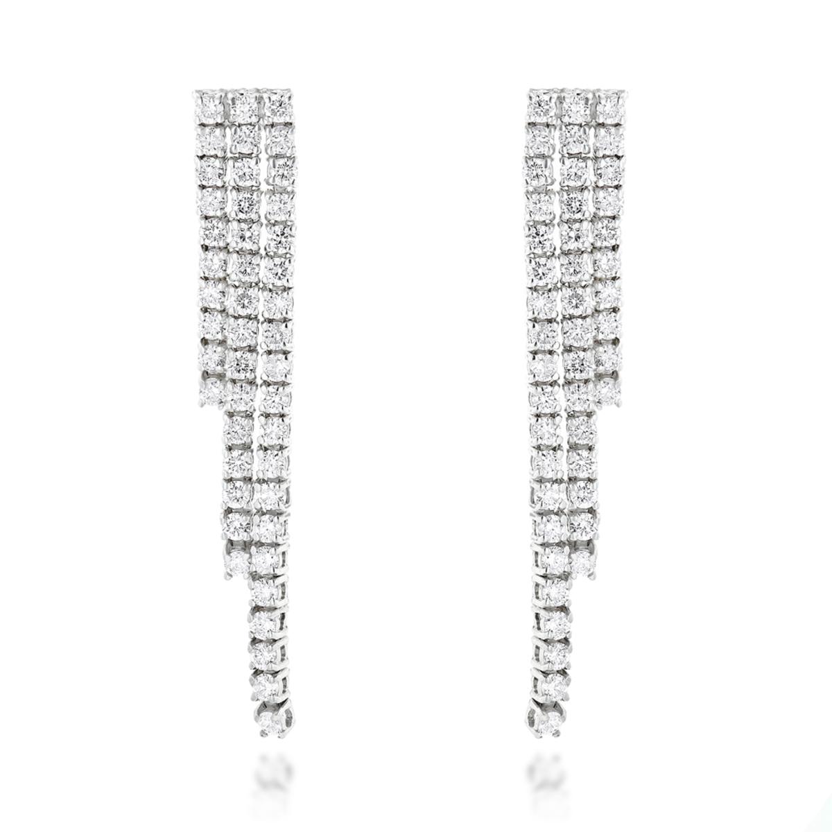 Ladies Earrings 14K Gold String Diamond Earrings 3.78ct