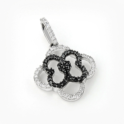 Ladies Flower Pendant with Black and White Diamonds 0.28ct 14K Gold