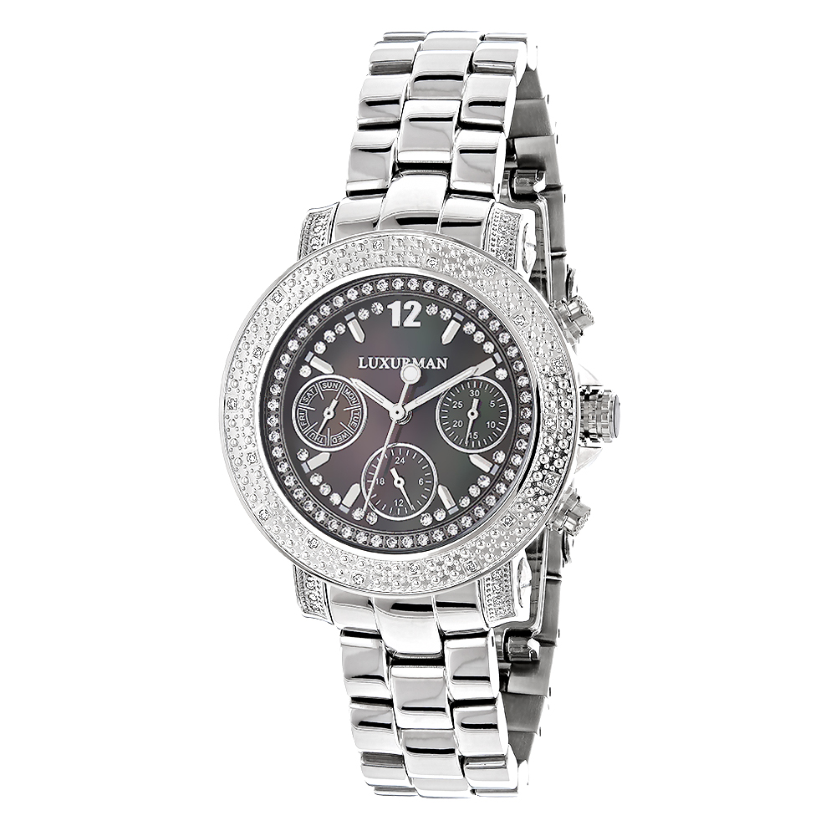 Ladies Genuine Diamond Watch by LUXURMAN 0.3ct Black MOP