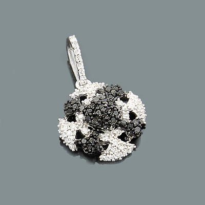 Ladies Gold Pendant with White Black Diamonds 0.30ct 14K Gold