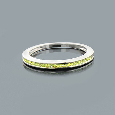 Ultra Thin Ladies Green Diamond Wedding Band in Sterling Silver 0.25ct