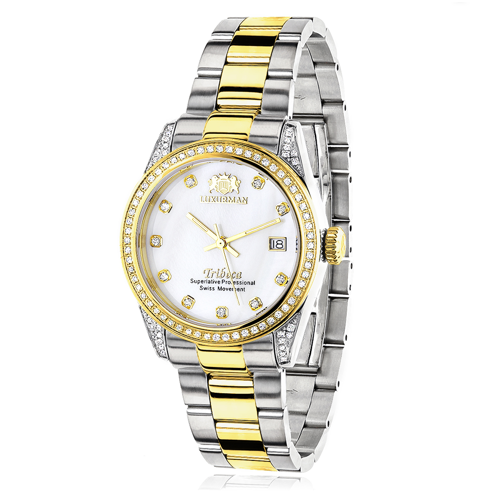 Ladies Luxurman Tribeca Two Tone Yellow Gold Plated Diamond Watch 1.5ct