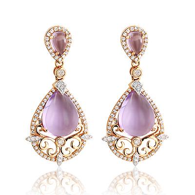 Ladies Natural Amethyst Gemstone Diamond Earrings 14K Gold