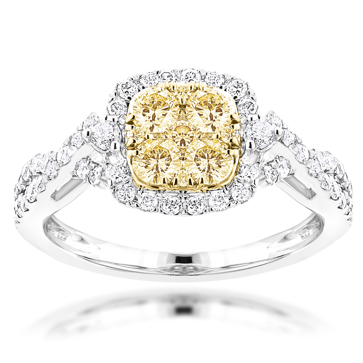 Ladies Natural Yellow Diamond Ring 1.39ct 14K Gold Halo Design