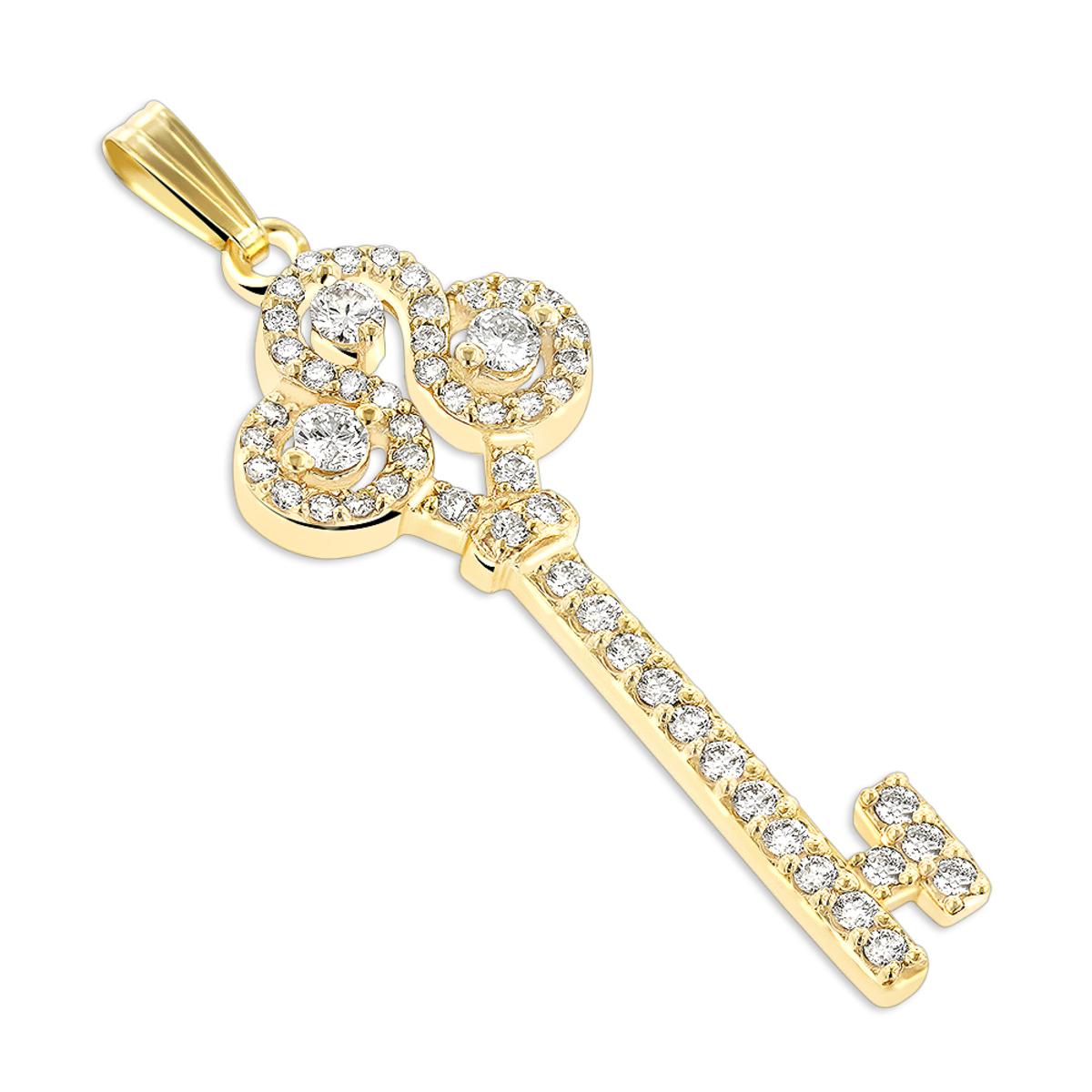 Ladies Necklaces 14K Gold Diamond Key Pendant 2 carats