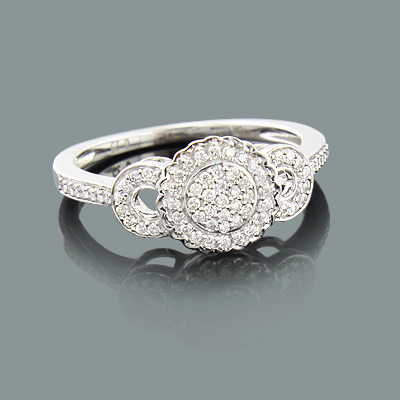 Ladies Pave Diamond Engagement Ring 0.27ct 10K