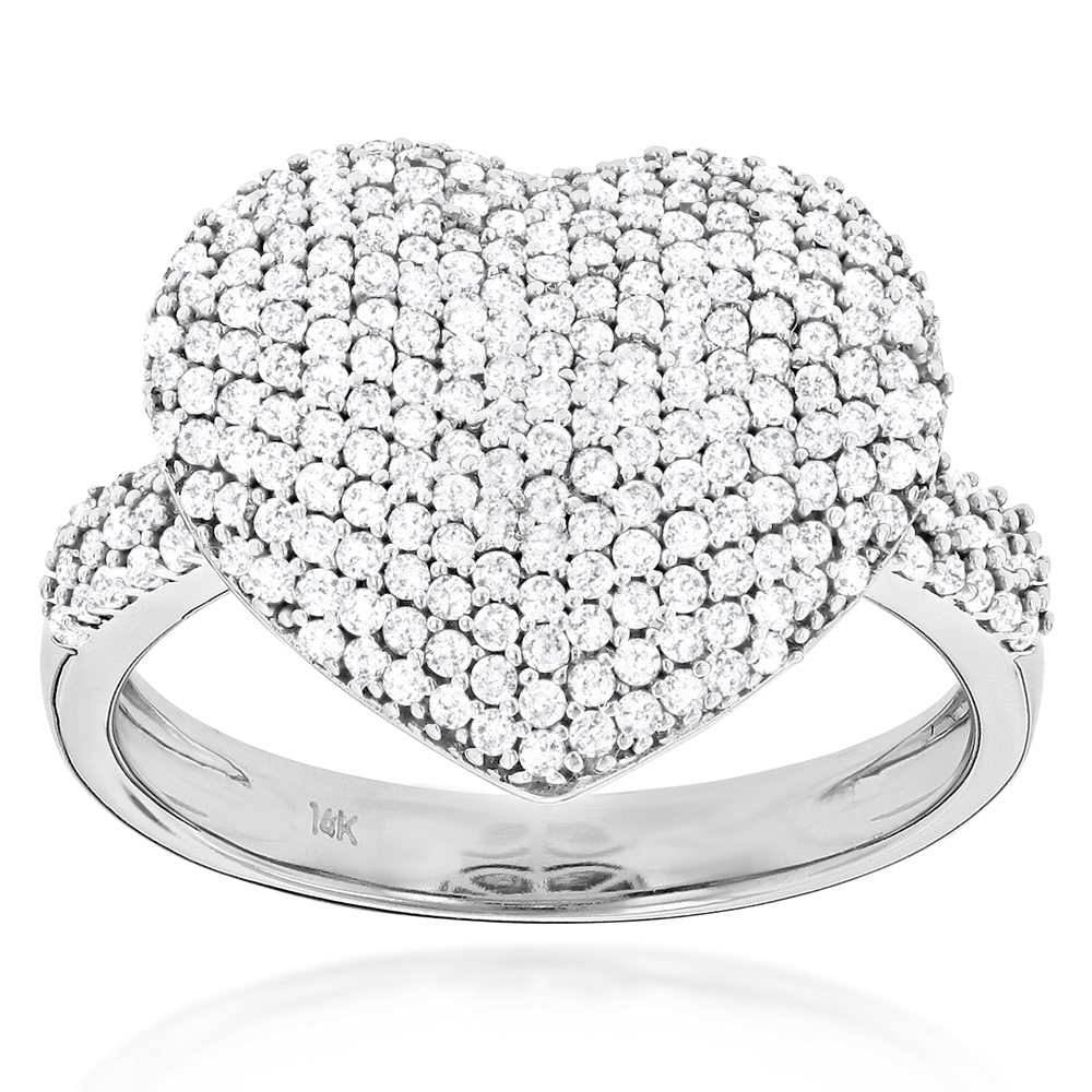 Ladies Pave Diamond Heart Ring 1 carat 14K Yellow Rose White Gold