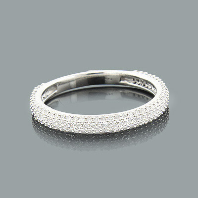 Thin Ladies Pave Diamond Ring 0.60ct 14K Stackable