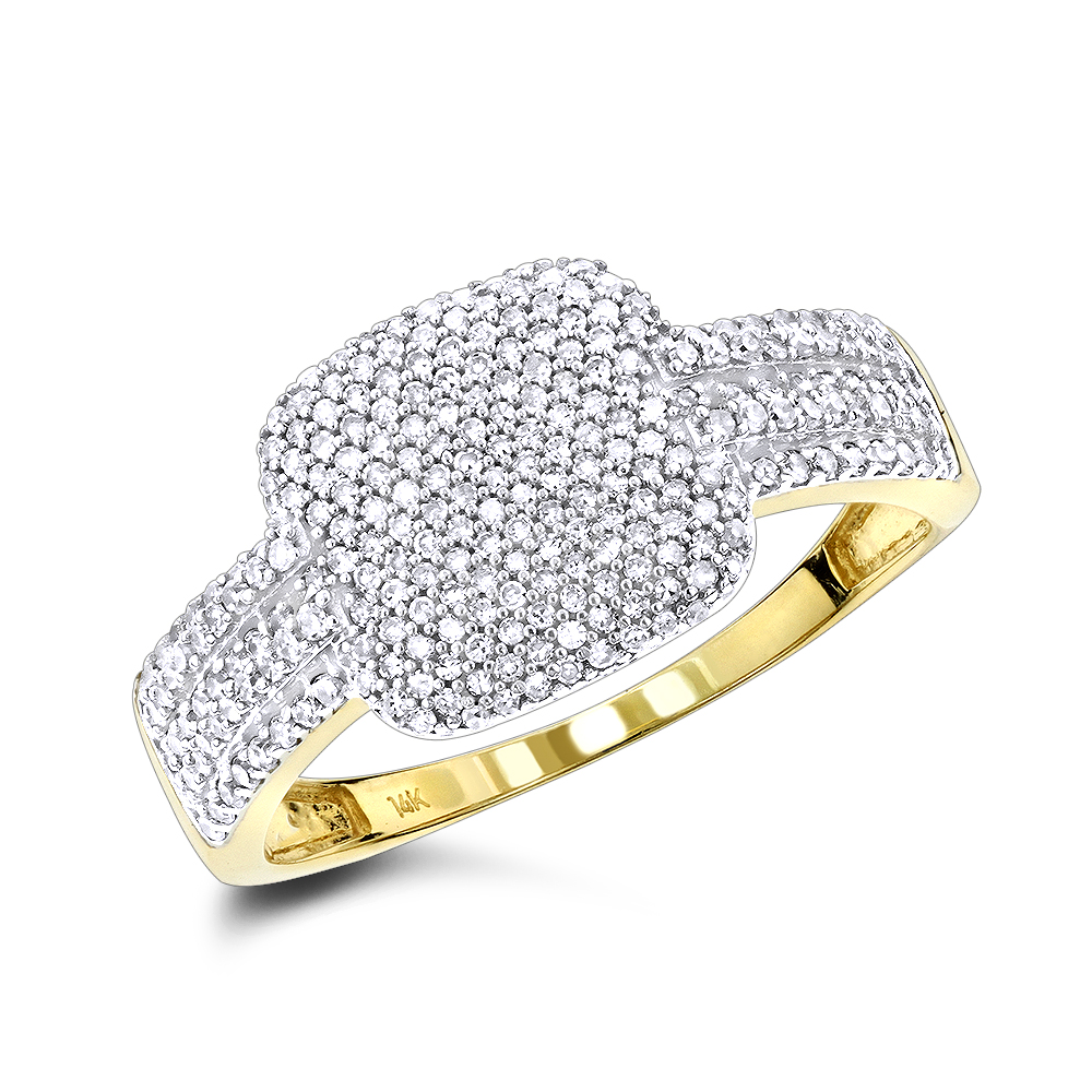 Ladies Pave Diamond Ring 14K 0.60ct