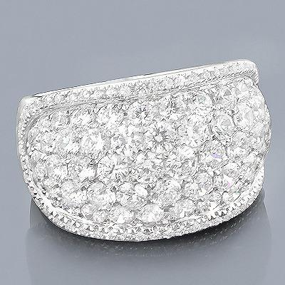Unique Ladies Pave Diamond Cluster Ring 3.77ct 14K Gold