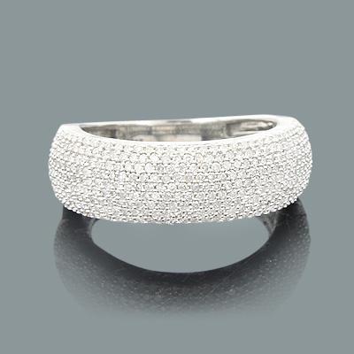 Ladies Puffed Diamond Ring 0.85ct 14K Gold