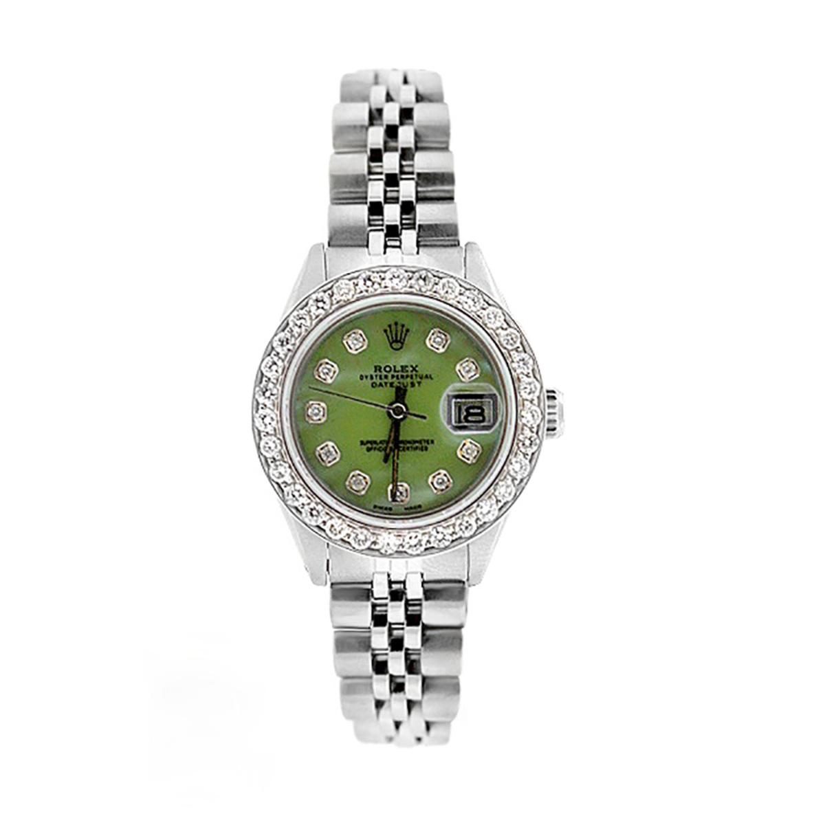 Ladies Rolex Datejust Diamond Bezel Watch Green MOP Dial 1.5ct