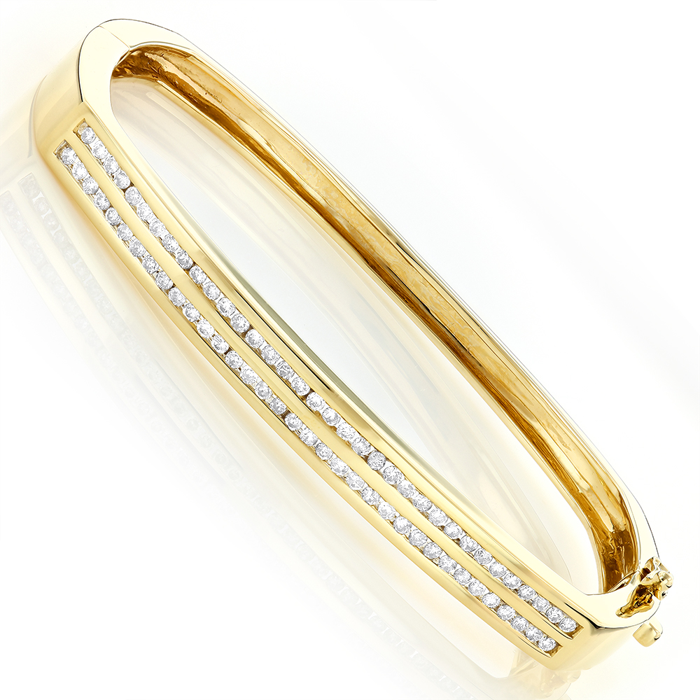 Ladies Round Diamond Bangle Bracelet 1ct 14K Gold