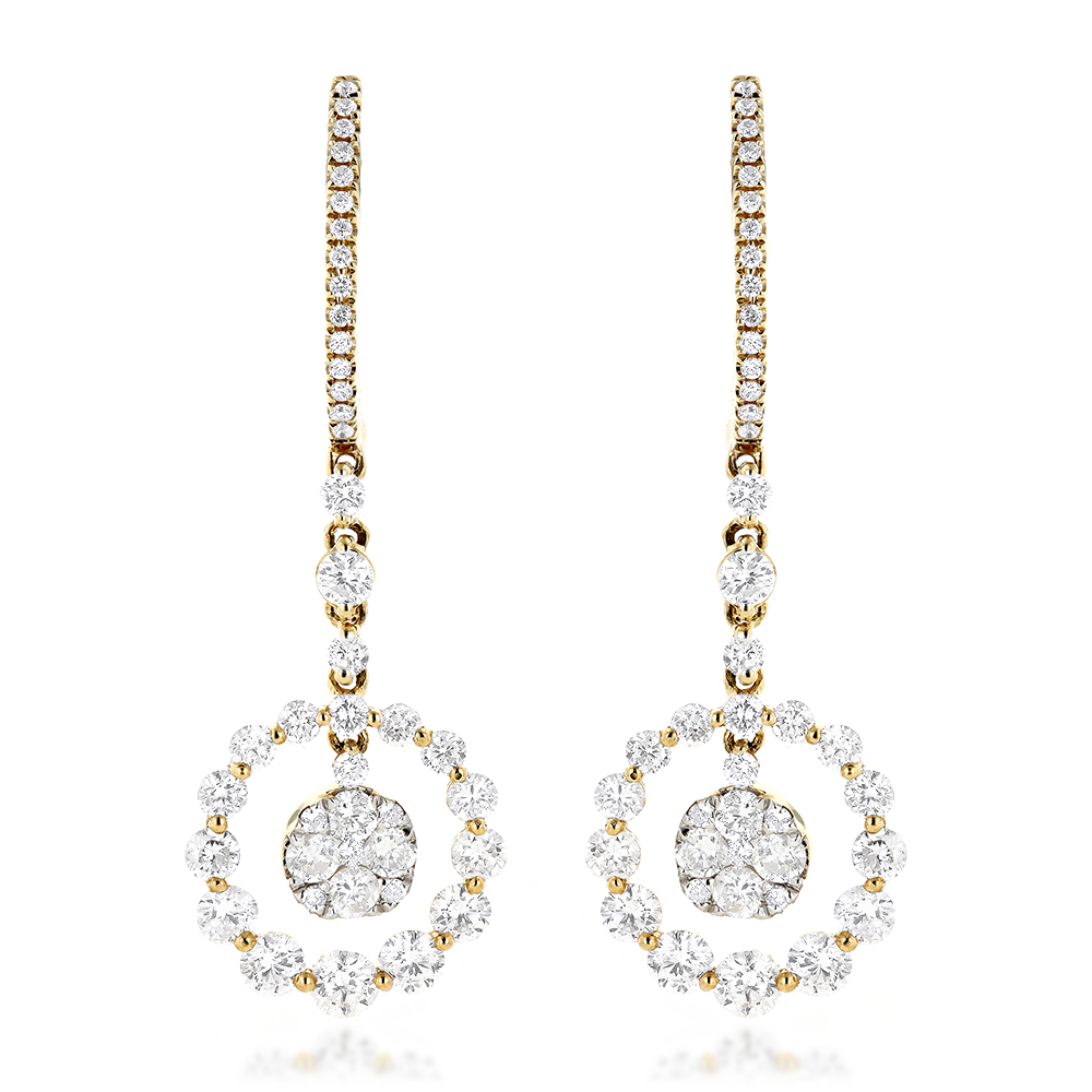 Ladies Round Diamond Drop Earrings 2.4ct 14k Gold