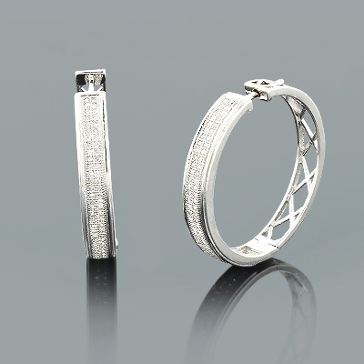 Ladies Round Diamond Hoop Earrings 0.72ct Gold