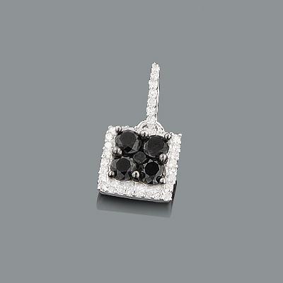 Ladies Silver Pendant with Black and White Diamonds 0.65ct