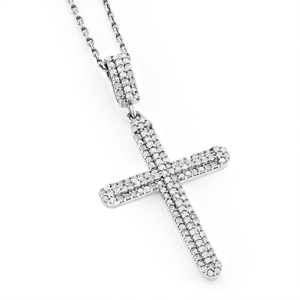 Ladies small 14k gold diamond cross pendant 059ct mozeypictures Gallery