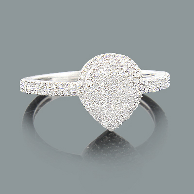 Ladies Teardrop Diamond Ring 0.43ct 14K Gold