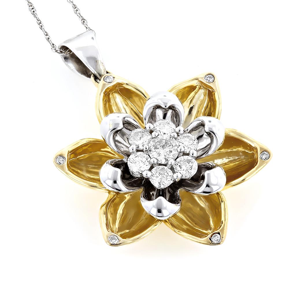 Ladies Unique Gold Diamond Flower Pendant 0.7ct 10K Gold