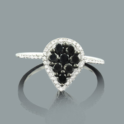 Ladies White and Black Diamond Ring 0.63ct Sterling Silver