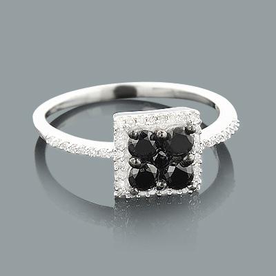 Ladies White Black Diamond Ring 0.75ct Sterling Silver