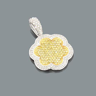 Ladies Yellow Diamond Pendant 0.64ct 14K Gold Flower Jewelry