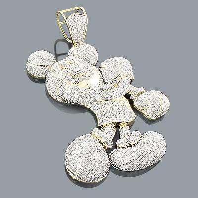 Large 10K Gold Diamond Mickey Mouse Pendant 6.75ct