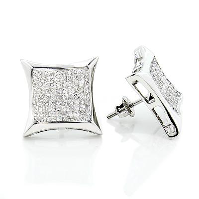 Large 14K Invisible Set Princess Cut Diamond Earrings 1.95ct