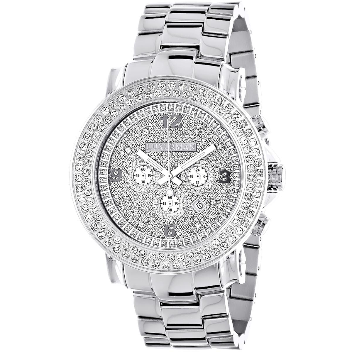 Large 2 Row Diamond Bezel Luxurman Watch 5ct New Arrival Oversized