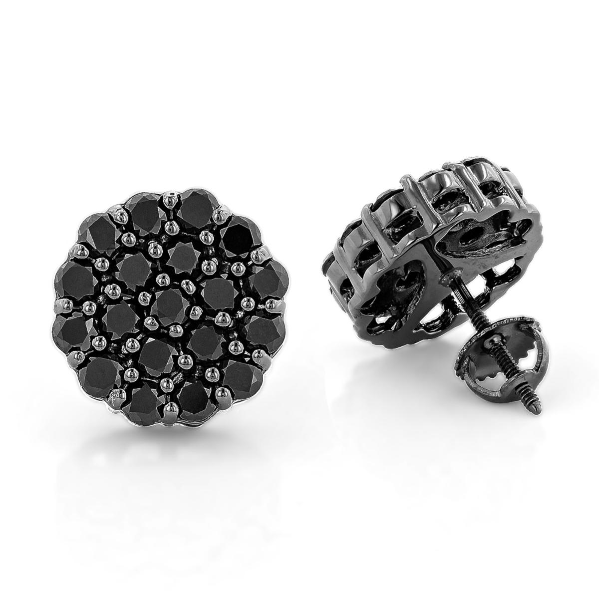 Large Black Diamond Cluster Earrings 3.5 ct 10K Gold Studs