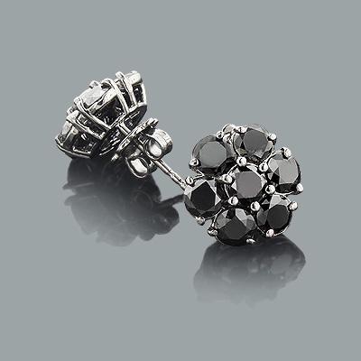 Large Black Diamond Cluster Earrings 5.50ct 14K