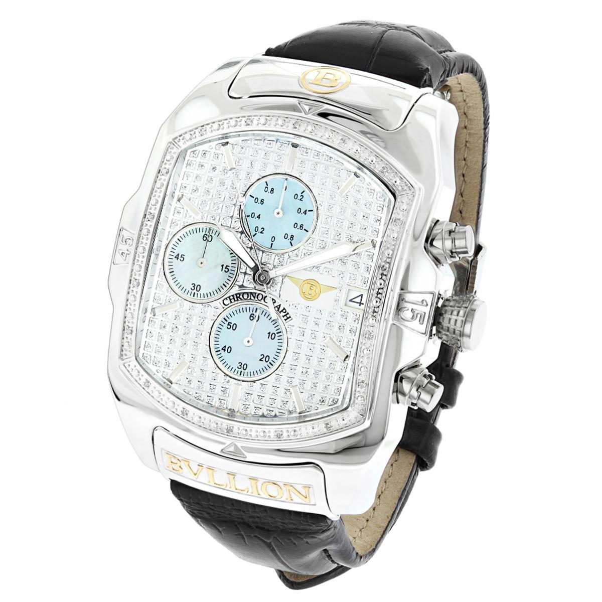 Large Bubble Watches: Luxurman Bullion Diamond Watch For Men w Chronograph